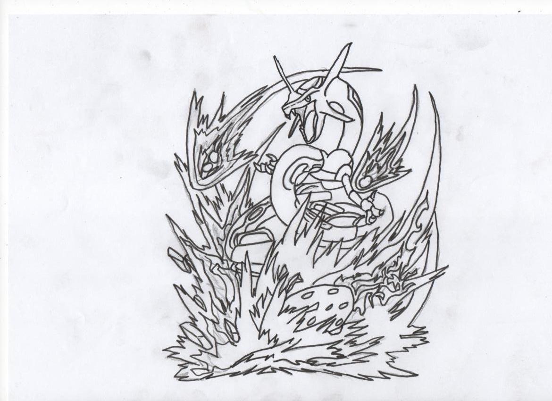 Coloriage pokemon dur - Dessin de rayquaza ...