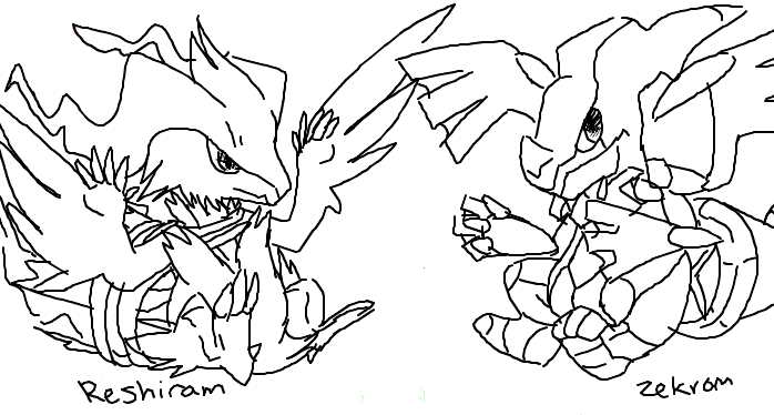 zekrom ex coloring pages | Reshiram And Zekrom - Free Coloring Pages